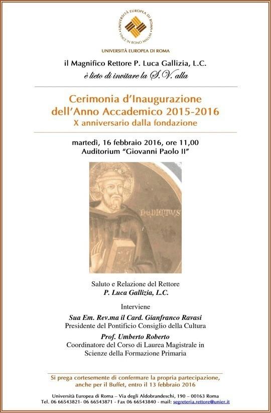 L'Europa e la sfida dell'integrazione: Inaugurazione dell'anno accademico dell'Università Europea di Roma, con il Cardinale Ravasi