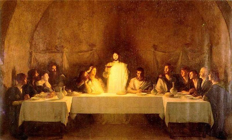 """Il dipinto di oggi è """"L'Ultima Cena"""" del pittore francese Pascal-Adolphe-Jean Dagnan-Bouveret, 1896, è un'opera enorme: misura 10x18 metri ed è stata esposta all'Esposizione Universale di Parigi del 1900. Guardandola ci si sente trasportati dentro alla scena..."""