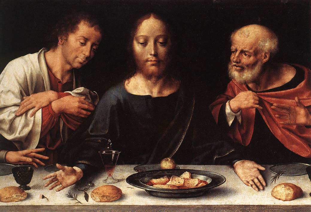 """Il dipinto di oggi è """"L'Ultima Cena"""" di Joos van Cleve, prima metà del XVI sec., olio su tavola 206x45 cm, Museo del Louvre, Parigi"""