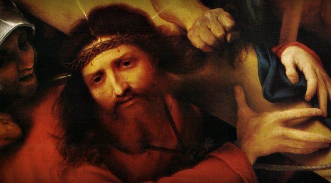 """Il dipinto di oggi è """"Cristo trasporta la Croce"""", del pittore italiano Lorenzo Lotto, 1526, olio su tela, 66×60 cm, Museo del Louvre, Parigi"""