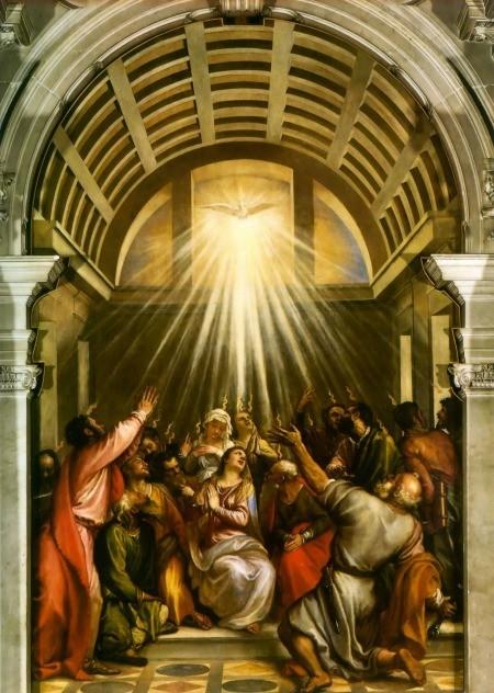 """Il dipinto di oggi è: """"La Pentecoste"""" del pittore italiano Tiziano Vecellio , olio su tela (570x260 cm), 1546 circa, Basilica di Santa Maria della Salute, Venezia."""