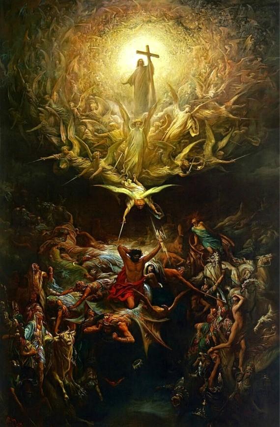 """Il dipinto di oggi è """"Il trionfo del Cristianesimo sui pagani"""", opera del pittore francese Gustave Doré, 1869, olio su tela, 300x201 cm, Art Gallery of Hamilton, Ontario, Canada"""