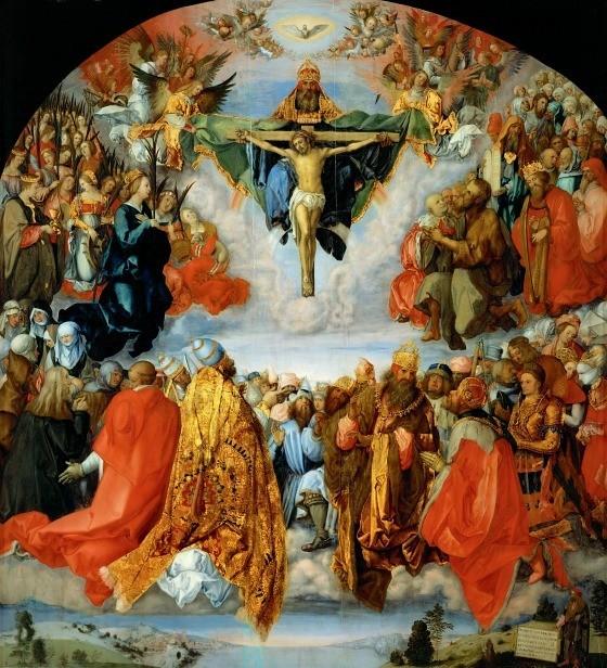 """Il dipinto di oggi è """"L'adorazione della Trinità"""", del pittore tedesco Albrecht Dürer, 1511, olio su tavola, 135x123 cm, Kunsthistorisches Museum, Vienna"""