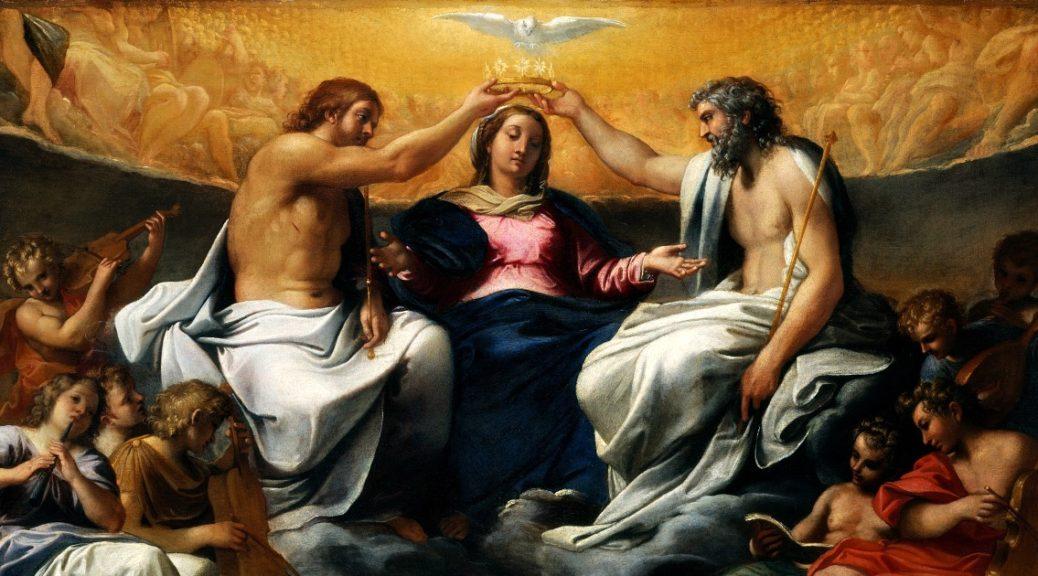 """Il dipinto di oggi è """"L'Incoronazione della Vergine"""", del pittore italiano Annibale Carracci, 1595, olio su tela, 118×141 cm, Metropolitan Museum of Art, New York"""