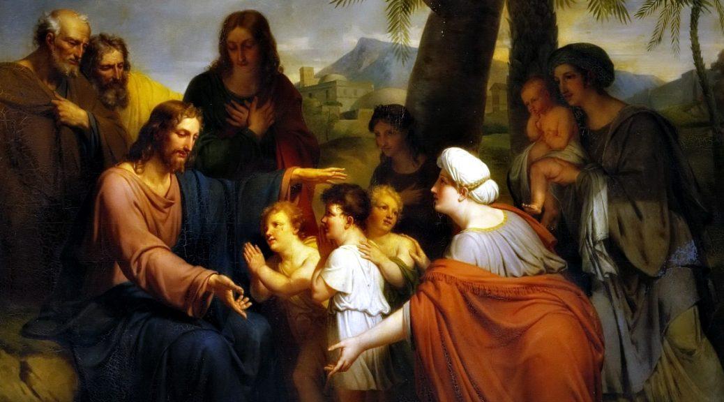 """Il dipinto di oggi è """"Lasciate che i bambini vengano a me"""", del pittore francese Antoine Ansiaux, 1820, olio su tela, Museo del Castello di Versailles."""