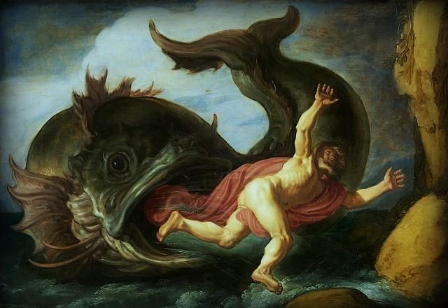 """Il dipinto di oggi è """"Giona e la balena"""", del pittore olandese Pieter Lastman, 1621, olio su tavola, 36×52 cm, Museum Kunstpalast, Düsseldorf, Germania"""