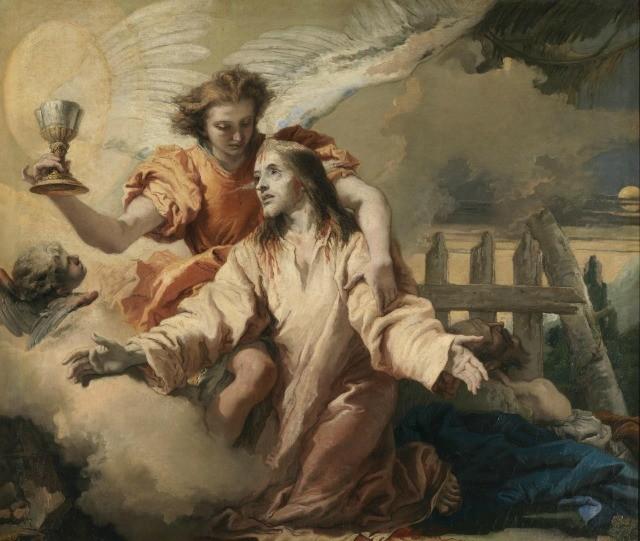 """Il dipinto di oggi è """"La preghiera nell'Orto degli Ulivi"""", del pittore italiano Giandomenico Tiepolo, 1772, olio su tela, 125x142 cm, Museo del Prado, Madrid"""