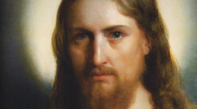 """Il dipinto di oggi è """"Cristo e il bambino"""" (dettaglio del volto di Cristo), del pittore danese Carl Heinrich Bloch, 1873, olio su tela, 385x160 cm, Skt. Nikolai Kirke, Holbæk, Danimarca"""