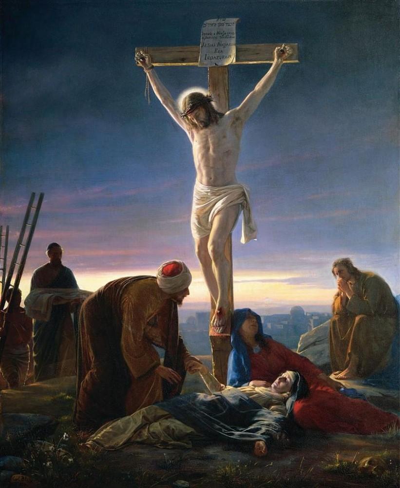 """Il dipinto di oggi è l'inconfondibile """"Crocifissione"""" del pittore danese Carl Heinrich Bloch, 1870, olio su rame, Museo di Storia Naturale di Copenhagen"""