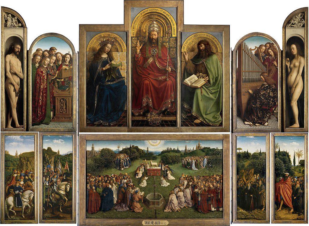 un'opera monumentale di Jan van Eyck (e del misterioso Hubert van Eyck), dipinta tra il 1426 e il 1432 per la cattedrale di San Bavone a Gand, dove si trova tutt'oggi. Si tratta di un polittico apribile composto da dodici pannelli di legno di quercia, otto dei quali sono dipinti anche sul lato posteriore, in maniera da essere visibili quando il polittico è chiuso. La tecnica usata è la pittura a olio e le misure totali sono 375x258 cm da aperto.